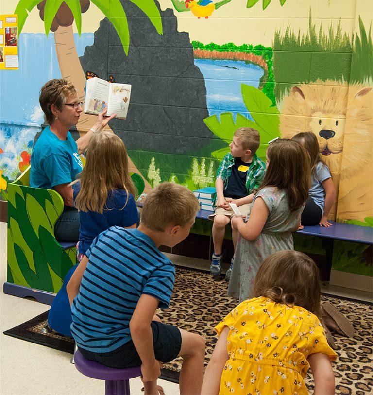 Sunday School reading to children