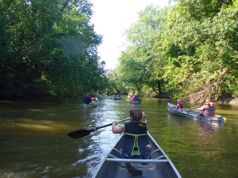 Cub Scouts canoeing