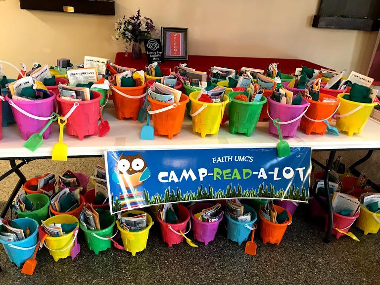Camp Read-a-lot buckets ready